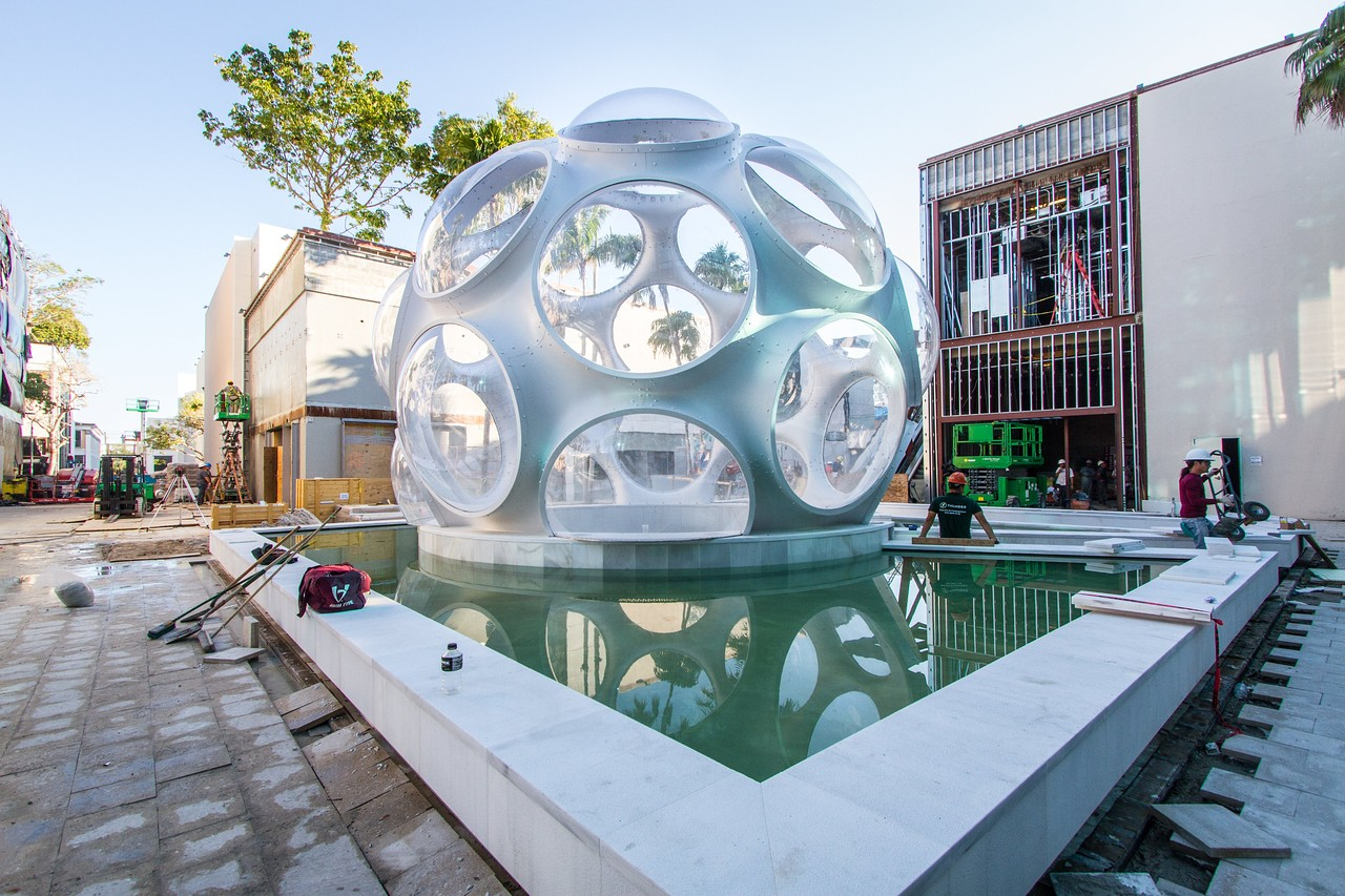 "Buckminster Fuller's ""Fly's Eye"" dome in Palm Court in Miami's Design District. LALA PEREIRA/MIAMI DESIGN DISTRICT ASSOCIATES"